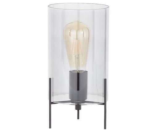 Tafellamp Laurel, Lampenkap: grijs, transparant. Lampvoet: mat zwart. Snoer: transparant