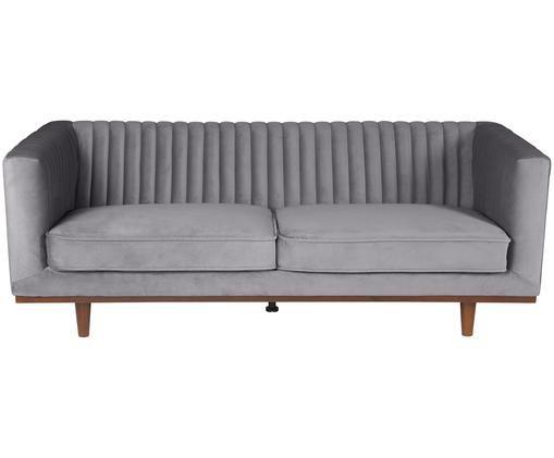 Samt-Sofa Dante (3-Sitzer), Bezug: Dunkelgrau Füße: Gummibaumholz