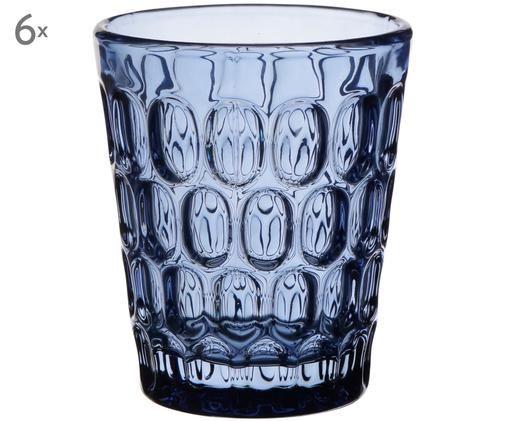Szklanka do wody Optic, 6 szt., Transparentny,niebieski