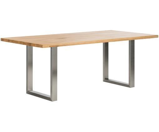 Stół do jadalni Oliver z litego drewna, Blat: dzikie drewno dębowe Nogi: stal szlachetna, matowy szczotkowany