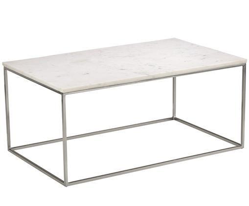 Tavolino da salotto in marmo Alys, Piano d'appoggio: marmo bianco Struttura: argento lucido