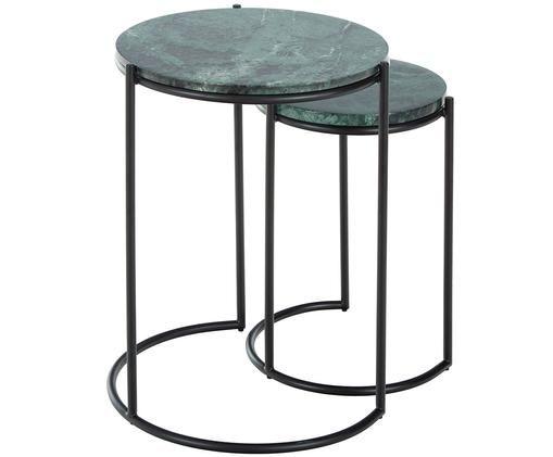 Marmeren bijzettafelset Ella, Tafelbladen: groene marmer. Frame: mat zwart