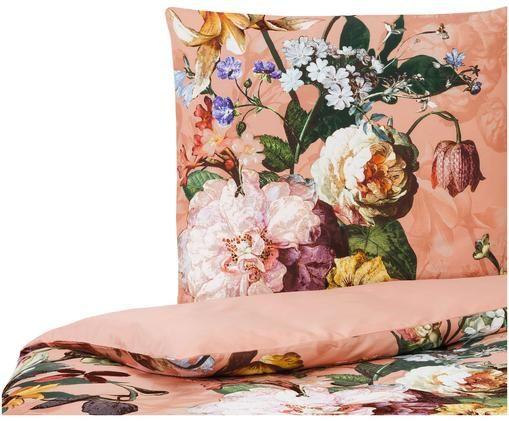 Dwustronna pościel z satyny bawełnianej  Fleur, Łososiowy różowy, wielobarwny