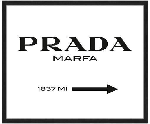 Stampa digitale incorniciata Prada Marfa, Nero, bianco