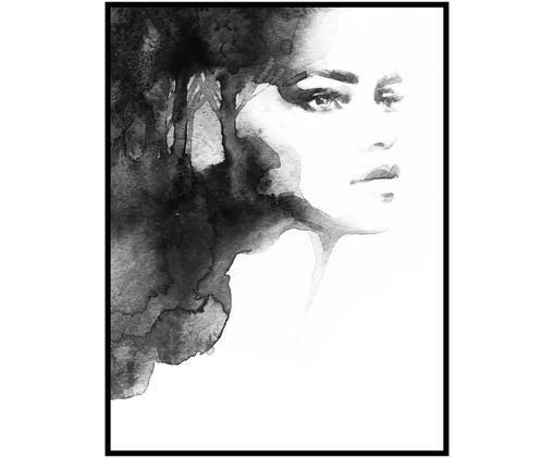 Stampa digitale incorniciata Lady of Light, Nero, bianco