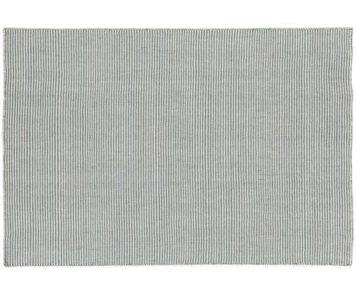 Tappeto in lana tessuto a mano Ajo, Grigio blu, crema