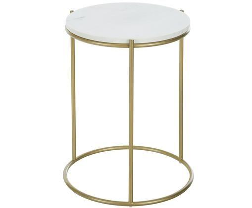 Mesa auxiliar redonda de mármol Ella, Mármol blanco grisáceo, dorado