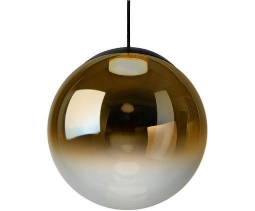 Pendelleuchte Relex aus verspiegeltem Glas, Bernsteinfarben, Transparent