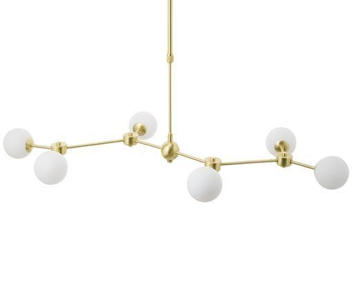 XL-hanglamp Aurelia uit glas en metaal, Wit, messingkleurig