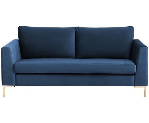 Canapé en velours Luna (2places), Bleu