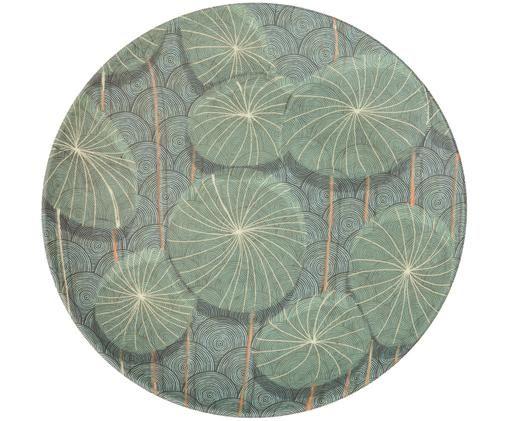 Piatto da colazione in bambù Nymphaea, Blu, verde