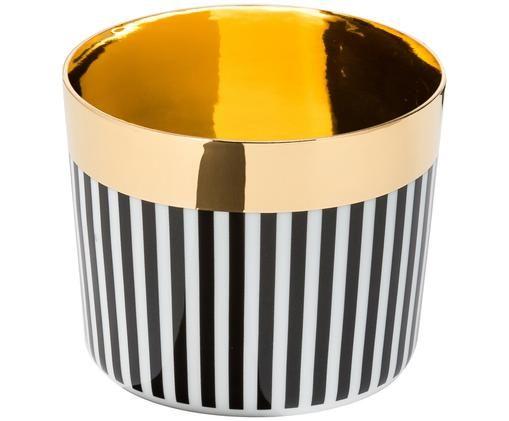 Vergoldeter Champagnerbecher Sip of Gold aus Porzellan, Schwarz, Weiß, Gold