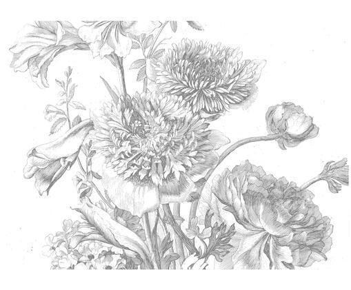 Fototapete Engraved Flowers, Grau, weiß