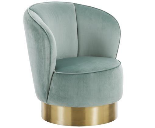 Fotel z aksamitu Olivia, Tapicerka: odcienie szałwiowego  Nogi: odcienie złotego, błyszczący, szczotkowan