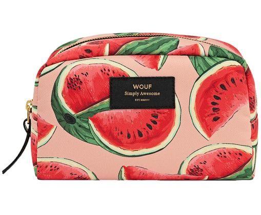 Kosmetiktasche Watermelon mit Innenfach, Rosa, Rot