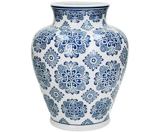 Decoratieve vaas Lin, Wit, blauw