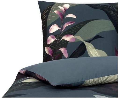 Parure copripiumino reversibile in raso di cotone Flora, Fronte: multicolore Retro: grigio scuro