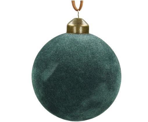 Weihnachtskugeln Velvet, 4 Stück, Blaugrün