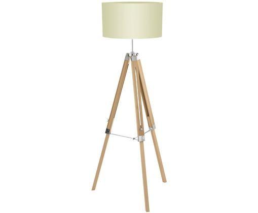 Lampadaire en bois Lantada, hauteur ajustable, Beige, brun