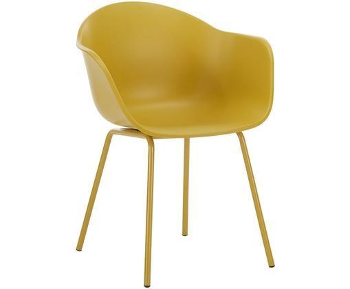 Krzesło z podłokietnikami Claire, Siedzisko: żółty Nogi: żółty, matowy