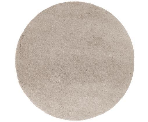 Flauschiger runder Hochflor-Teppich Leighton in Beige, Beige-Braun