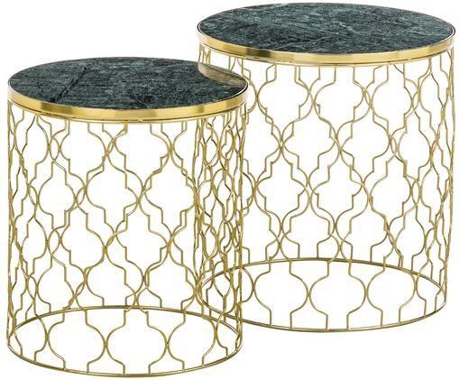 Marmor-Beistelltisch-Set Blake, 2-tlg., Tischplatten: Grüner MarmorGestelle: Goldfarben, glänzend