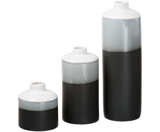 Set vasi Brixa, 3 pz., Nero, grigio, bianco, opaco
