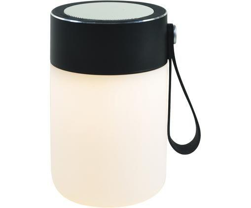 Lámpara portátil LED de exterior con altavoz Sound Jar, Negro, blanco