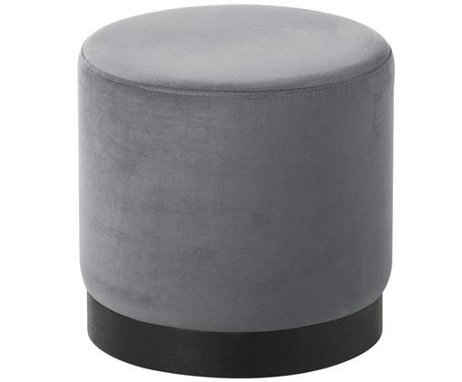 Puf de terciopelo Azalea, Tapizado: gris claro Base: madera de fresno, pintada en negro
