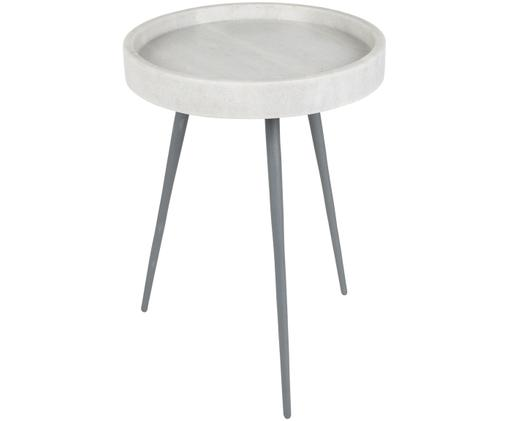 Table d'appoint ronde en marbre Karrara, Plateau: blanc, marbré Pieds: gris