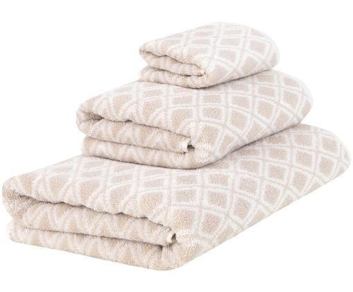 Set asciugamani reversibili Ava, 3 pz., Sabbia, bianco crema