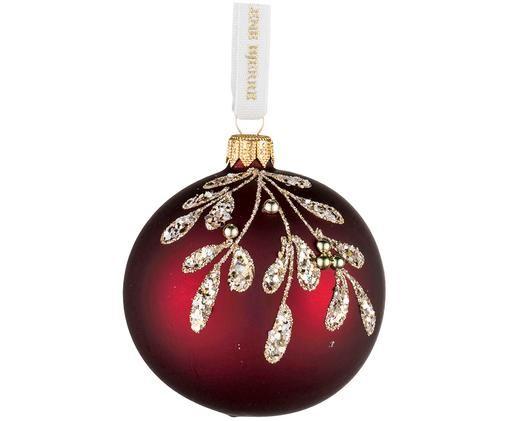 Bolas de Navidad Cadelia, 2uds., Rojo oscuro, dorado