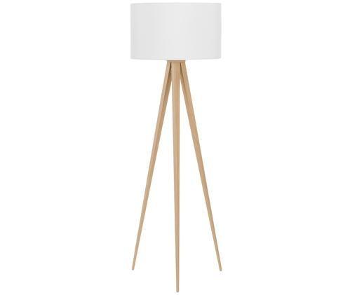 Lampa podłogowa Jake, Klosz: biały Podstawa lampy: fornir drewniany