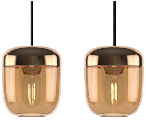 Lámpara de techo pequeña Cannonball Acorn, Bronce, ámbar