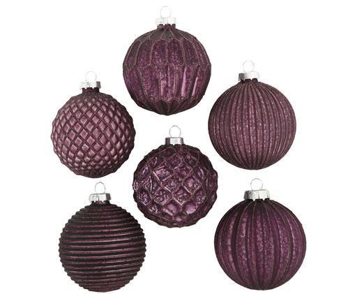 Weihnachtskugel-Set Claris, 6-tlg., Violett, Metall