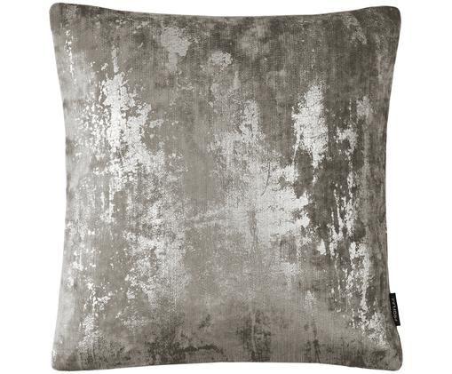 Samt-Kissenhülle Shiny mit schimmerndem Vintage Muster, Grau