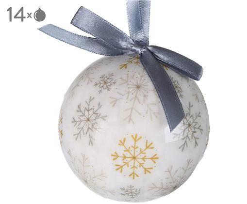 Bolas de Navidad Snowflake, 14uds., Blanco, mostaza, topo