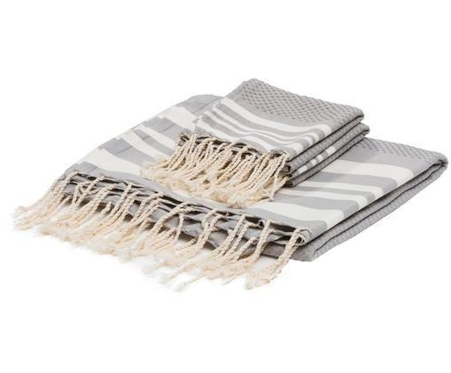 Set asciugamani Hamptons, 3 pz., Grigio perlato, bianco