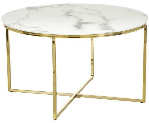 Mesa de centro Antigua con tablero de cristal, Blanco veteado, latón