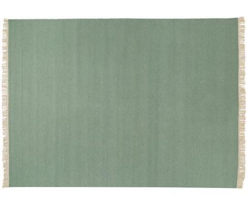 Handgewebter Wollteppich Rainbow in Grün mit Fransen, Pistazie