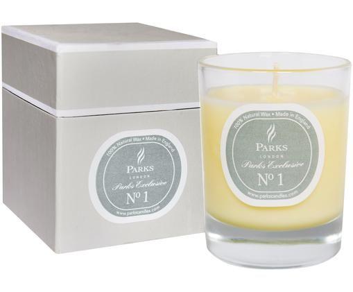 Świeca zapachowa Exclusive No 1 (drzewo sandałowe i wanilia), Transparentny, biały, szary