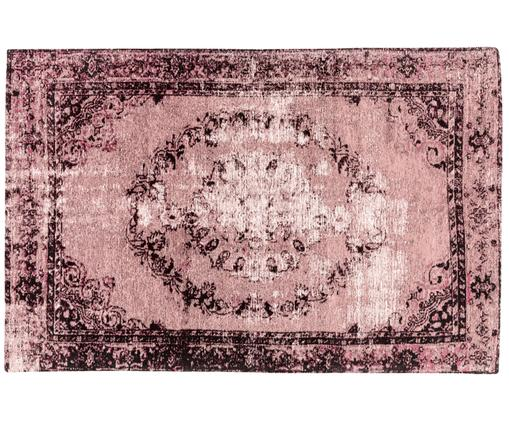 Vintage Chenilleteppich Milan in Rosa, handgewebt, Beerenfarben, Schwarz, Creme