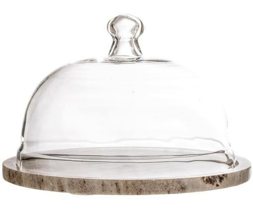 Cloche in marmo Cheese, Beige trasparente