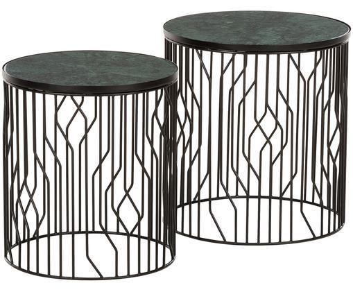 Set de mesas auxiliares de mármol Willow, 2uds., Tablero: mármol verde Estructura: negro mate