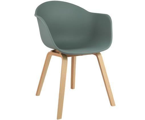 Chaise à accoudoirs Claire, Coque: vert Pieds: bois de hêtre
