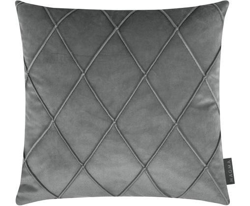 Samt-Kissenhülle Nobless mit erhabenem Rautenmuster, Grau