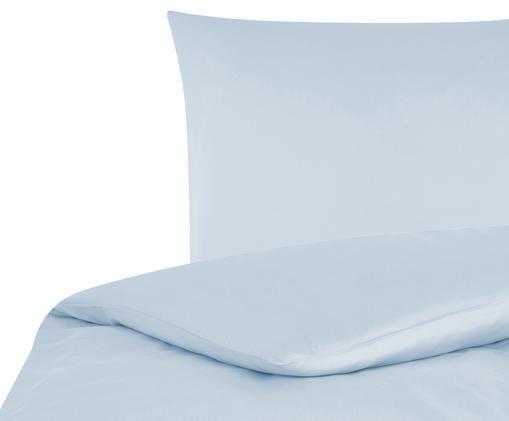 Katoensatijnen dekbedovertrek Comfort, Lichtblauw