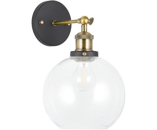 Applique New York Loft No. 2, Nero, ottone trasparente