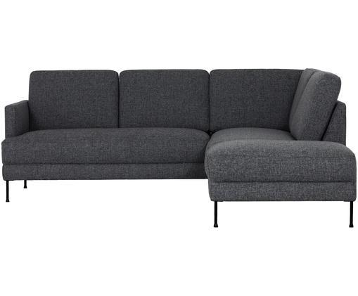 Divano con chaise-longue Fluente, Rivestimento: grigio scuro Gambe: nero
