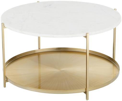 Tavolino da salotto in marmo Victoria, Piano d'appoggio: marmo bianco struttura: dorato opaco